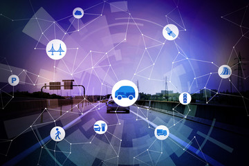 speedway and wireless communication network, internet of things, smart transportation, abstract image visual