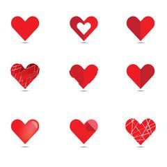 Vector of red heart set. Love , Wedding , Valentine