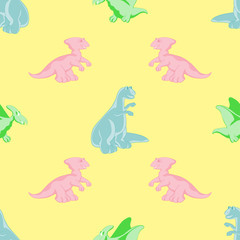 Seamless background. Colored dinosaurs