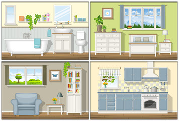 Illustration with four classic residential interiors