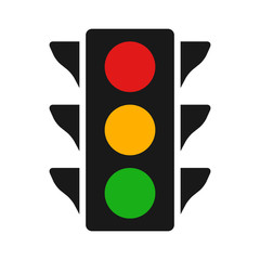 Traffic control light / signal with red, yellow and green color flat icon for apps and websites