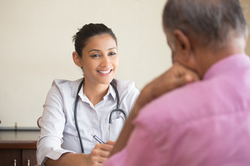 Closeup portrait, patient talking good news conversation to healthcare professional, isolated indoors background