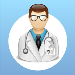 vector medical icons with doctor character