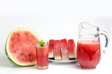 Close-up of fresh watermelon juice isolated on white background