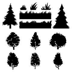 Black trees and grass vector silhouettes on white background