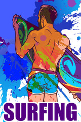 Surfer on ona a grunge spots. Back view. Inverted colors