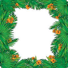 Palm leaves and flowers square frame