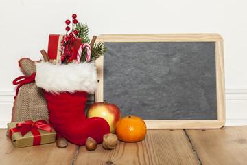 Nikolausstiefel und Tafel