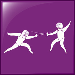 Fencing icon on purple background