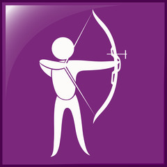 Archery icon on purple background