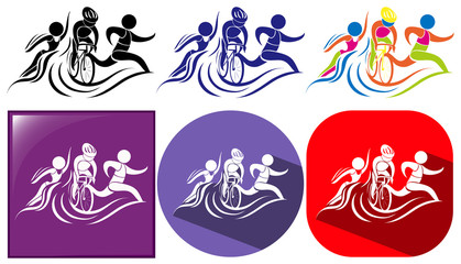 Triathlon icon in three designs