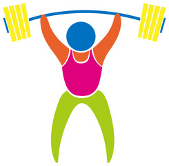 Colored sport icon for weightlifting