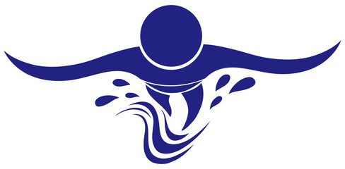 Swimming icon in blue color