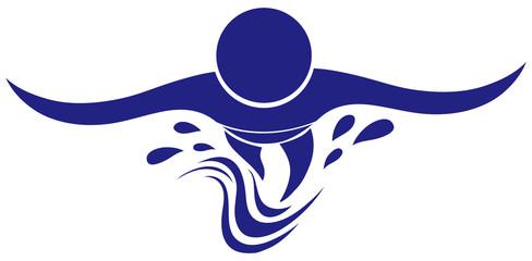 Swimming icon in blue color