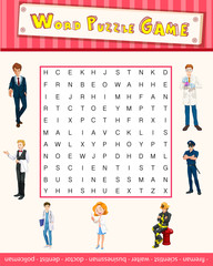 Word puzzle game template with occupations