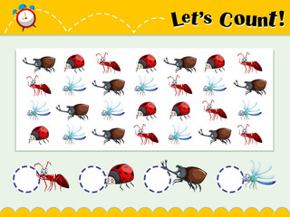 Game template with counting insects