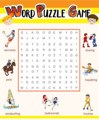 Word puzzle game template for many sports