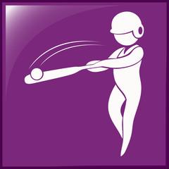 Baseball icon on purple background