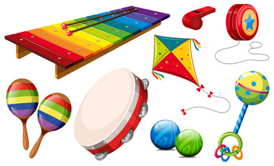 Different kind of musical instruments and toys