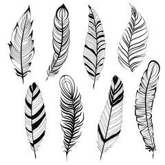 Vintage bohemian feather big set isolated on white background Hand drawn vector illustration. Template for your design