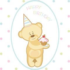 Greeting card bear with cake