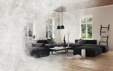 Gray smoke enveloping living room scene