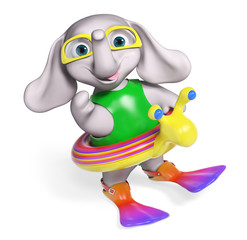 Baby elephant cartoon with lifeline and flippers, 3d rendering