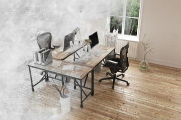 Gray fadeout effect on room with hardwood floor