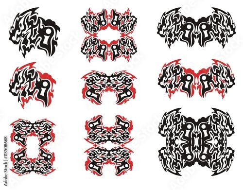 Tribal flaming dragon symbols. Ornate aggressive dragon head, dragon ...