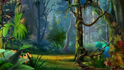 Wild and Dark Tropical Forest.