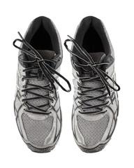 Black & White running shoes on white background