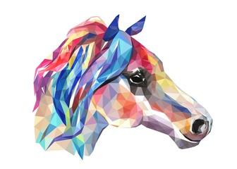 Głowa konia, mozaika. Modny styl geometryczny na białym tle.