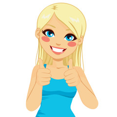 Beautiful blonde woman happy smiling making thumbs up sign with both hands