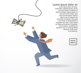 Businessman catch money dollar run flat drawing.