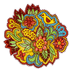Doodle with flowers and birds. Brown, yellow, blue, green, bright ornament. Vector
