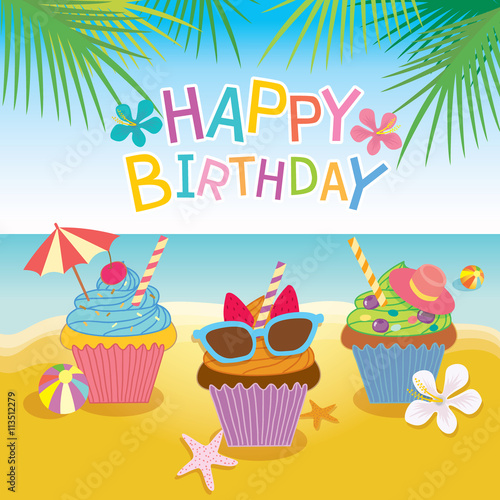 "Beach Theme Card Stock: ""Illustration Vector Of Fantasy Cupcakes For Summer"