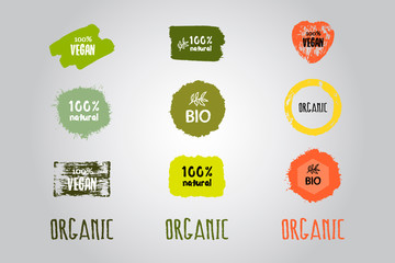 Labels with vegetarian and raw food diet designs. Organic food tags and elements set for meal and drink,cafe, restaurants and organic products packaging.Vector.
