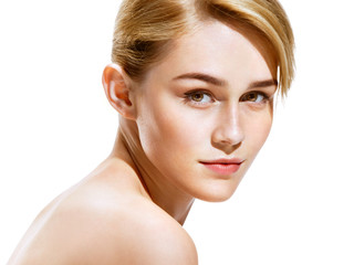Close up attractive blonde girl on white background. Youth and skin care concept