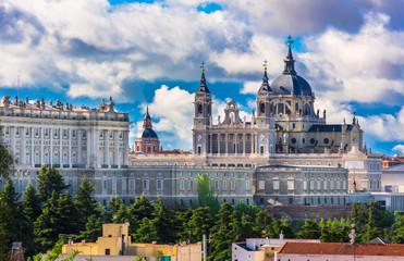 Cathedral Santa Maria la Real de La Almudena and the Royal Palace in Madrid, Spain