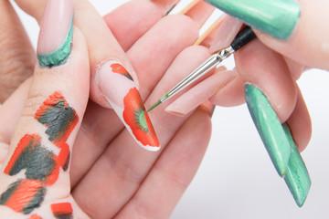 process of manicure at beauty salon