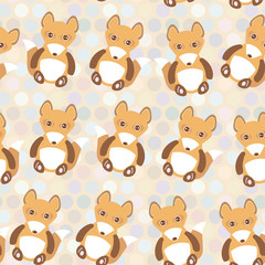 Polka dot background, pattern. Funny cute fox on dot background. Vector