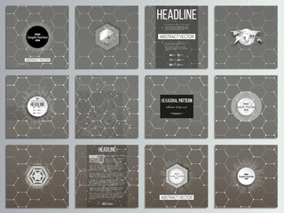 Set of 12 creative cards, square brochure template design. Chemistry pattern, hexagonal vector illustration