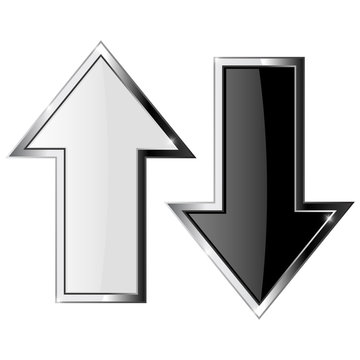Up and down arrows. Black and white shiny arrow with metal frame