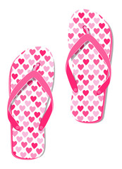 Pink sandals with hearts - flip-flops