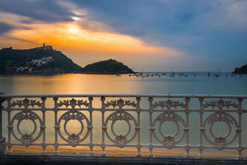 Bay of San Sebastian at sunset, Basque Country (Spain)