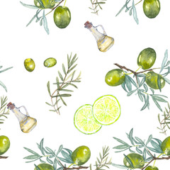 pattern olives. A watercolor drawing. The olive tree and lime.
