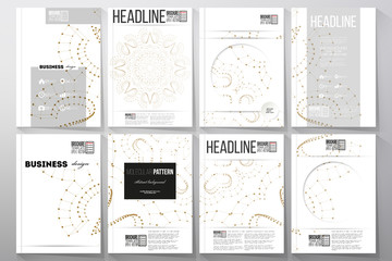 Set of business templates for brochure, flyer or booklet. Abstract polygonal low poly backdrop with connecting dots and lines, golden connection structure, white background. Digital, science vector