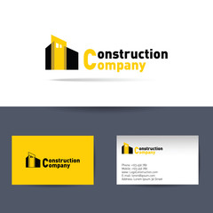 Construction company. Business card template.