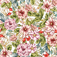 Seamless Wild rose Pattern