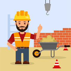 Male foreman at a construction site. Construction of the building. Cartoon vector illustration of a warning about the dangers on a construction site.